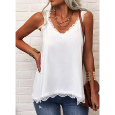 Solid V-Neck Sleeveless Casual Tank Tops