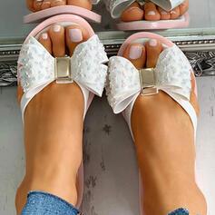 Női PVC Lapos sarok Szandál Peep Toe Papucs -Val Csokornyakkendő cipő