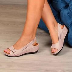Dla kobiet PU Obcas Koturnowy Sandały Otwarty Nosek Buta Bez Pięty Z Klamra Tkanina Wypalana obuwie