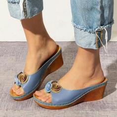 Femmes PU Talon compensé Sandales À bout ouvert Chaussons avec Une fleur chaussures