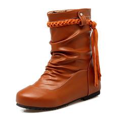 Femmes Similicuir Talon bas Bout fermé Bottes Bottes mi-mollets avec Tassel Lanière tressé chaussures