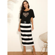 Striped/Leopard Short Sleeves Sheath Casual Midi Dresses