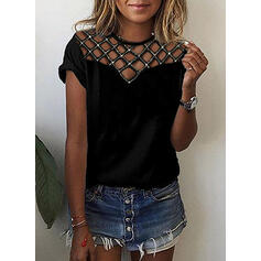 Solid Sequins Round Neck Short Sleeves Casual Blouses