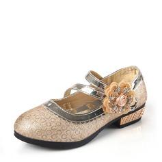 Ragazze Punta chiusa finta pelle Heel piatto Scarpe Flower Girl con Strass Fiocco in raso Fiore