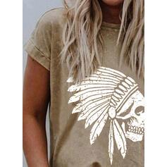 Print Ronde Hals Korte Mouwen T-shirts