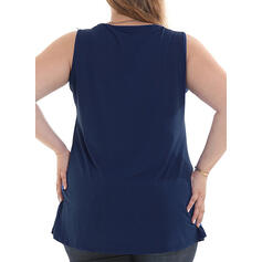 Solid Round Neck Sleeveless Casual Plus Size Tank Tops