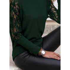 Jednolity Koronka Okrągły dekolt Długie rękawy Elegancki Bluzki
