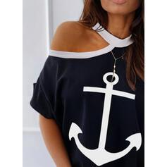 Print One Shoulder Korte Mouwen Casual Overhemd