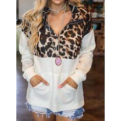 Leopard Lapel Lange ærmer Sweatshirts