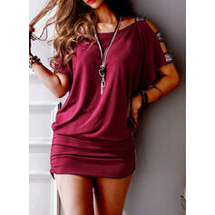 Patchwork Short Sleeves Sheath Above Knee Casual Dresses