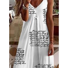 Print/Letter Sleeveless Shift Knee Length Casual Slip Dresses