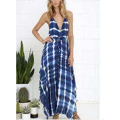 Striped Sleeveless A-line Casual/Vacation Midi Dresses