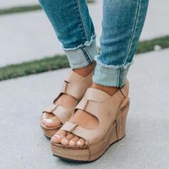 Femmes PU Talon compensé Sandales À bout ouvert avec Couleur unie chaussures