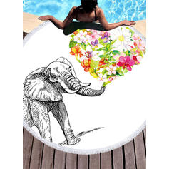 Floral/l'éléphant rond/attrayant serviette de plage