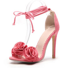 Women's Suede Stiletto Heel Sandals Pumps With Flower shoes