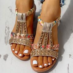 Dla kobiet PU Obcas Koturnowy Sandały Otwarty Nosek Buta Z Stras/ Krysztal Górski obuwie
