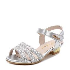 Girl's Microfiber Leather Flat Heel Peep Toe Sandals With Beading Velcro