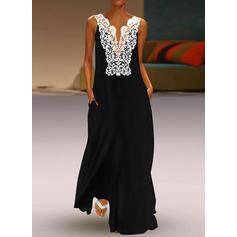 Lace/Solid Sleeveless Shift Party/Elegant Maxi Dresses