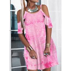印刷 1/2袖 シフトドレス 膝上 カジュアル ドレス