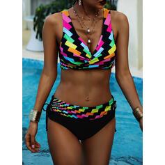 Wysoki stan Kolor splotu W prążki Dekolt w kształcie litery V Wintage Duży rozmiar Bikini Stroje kąpielowe