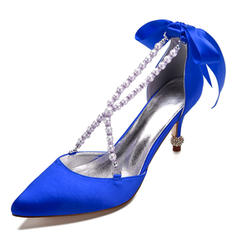 Femmes Satiné Talon bobine Bout fermé Chaussures plates Sandales avec Cristal