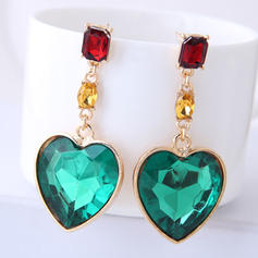 Heart Shaped Alloy Glass Women's Fashion Earrings (Set of 2)