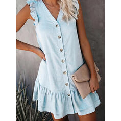 Solid Sleeveless Shift Above Knee Casual/Vacation Dresses