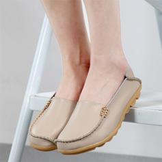 Frauen Echtleder Flascher Absatz Flache Schuhe mit Geraffte Schuhe
