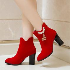 Donna Camoscio Tacco spesso Stiletto Stivali alla caviglia con Strass Cerniera scarpe