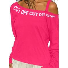 Print Figure One-Shoulder Long Sleeves Casual Blouses