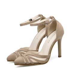 Donna Camoscio Mesh Tacco a spillo Stiletto Punta chiusa con Fibbia scarpe