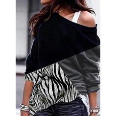 Print Color Block One Shoulder Lange ærmer Sweatshirts