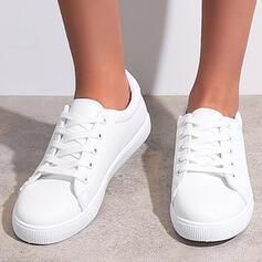 Donna PU Senza tacco Ballerine espadrille Sneakers con Allacciato Colore solido scarpe