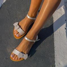 Women's PU Flat Heel Sandals Flats Peep Toe With Buckle shoes