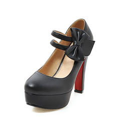 Naisten PU Chunky heel Avokkaat Platform Suljettu toe jossa Bowknot kengät