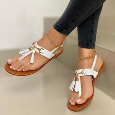 Women's Suede Flat Heel Sandals Flats Peep Toe Flip-Flops With Tassel shoes