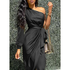 Solid Long Sleeves Sheath Asymmetrical Little Black/Party/Elegant Dresses