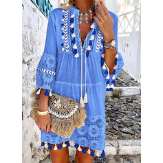 Lace 3/4 Sleeves/Flare Sleeves Shift Knee Length Casual/Vacation Tunic Dresses