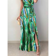 Nadrukowana Bez rękawów W kształcie litery A Casual Maxi Sukienki