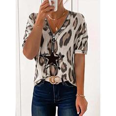 Print Leopard V-Neck Short Sleeves Casual Blouses