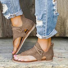 Women's PU Flat Heel Sandals Flats Peep Toe Flip-Flops With Zipper shoes