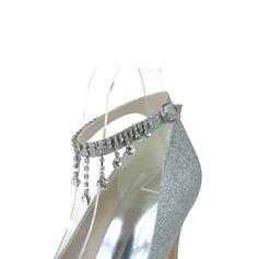Women's Sparkling Glitter Closed Toe Platform Pumps With Rhinestone Tassel