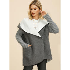 Polyester Long Sleeves Color Block Faux Fur Coats
