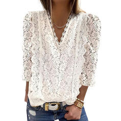 Solid Lace V-Neck 3/4 Sleeves Casual Blouses