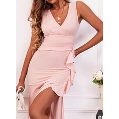 Sólido Sin mangas Cubierta Elegante Midi Vestidos