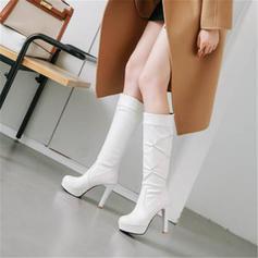 Mulheres PU Salto robusto Bombas Plataforma Botas Botas na panturrilha com Strass Pregueado sapatos