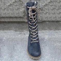 Mulheres PU Salto baixo Botas Botas na panturrilha com Zíper Aplicação de renda sapatos