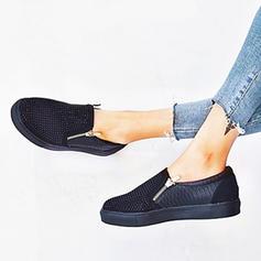 Femmes PU Talon plat Chaussures plates avec Zip chaussures