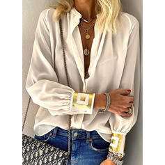 Print V-Neck Lantern Sleeve Long Sleeves Button Up Casual Shirt Blouses