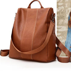 Solid Color PU Backpacks